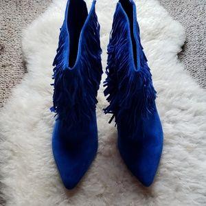 Steve Madden blue fringe ankle booties